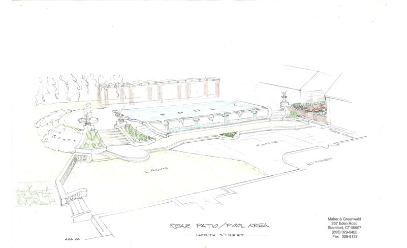 Sketch for formal pool and terraces, new home in Greenwich