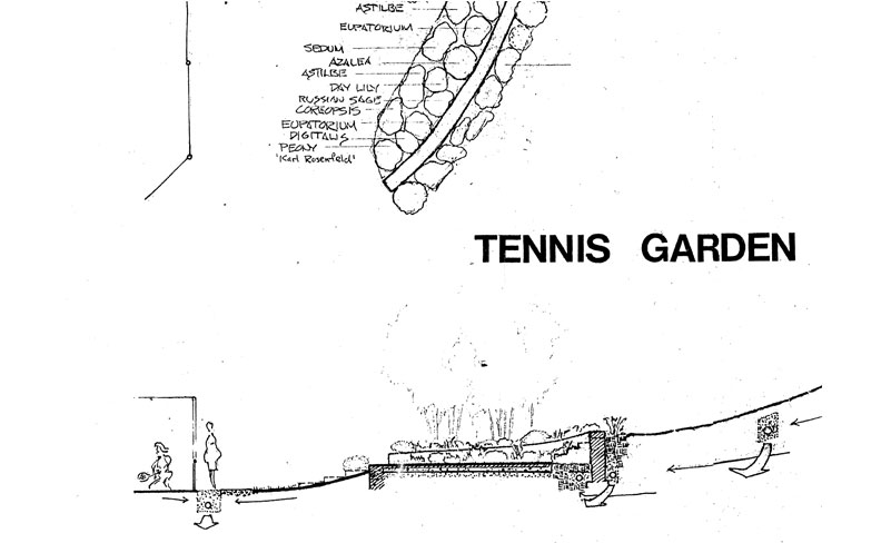 Tough Sites -- Design for Tennis Court and Gardens at bottom of open wet meadow